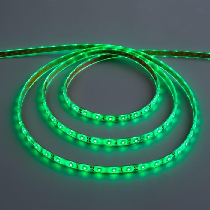 Светодиодная лента 12В, SMD3528, 5 м, IP68, 60 LED, 4.8 Вт/м, 6-7 Лм/1 LED, DC, ЗЕЛЁНЫЙ