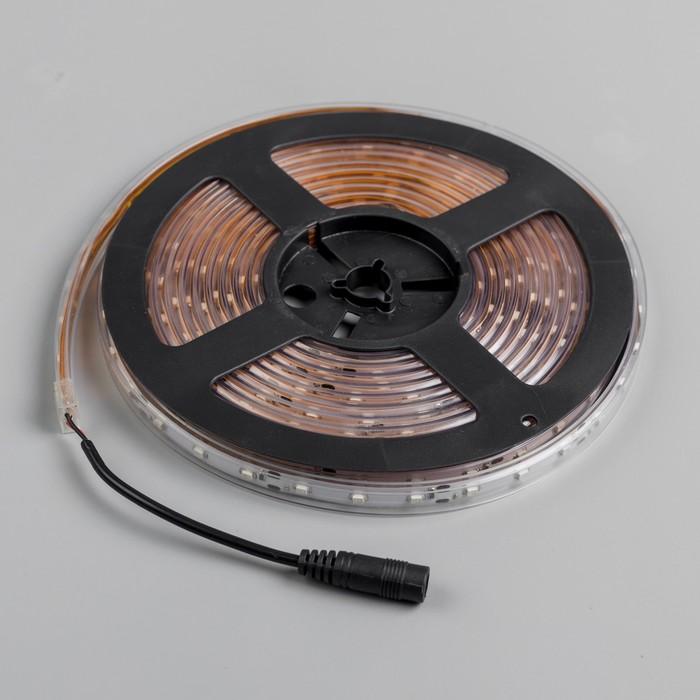 Светодиодная лента 12В, SMD3528, 5 м, IP68, 60 LED, 4.8 Вт/м, 6-7 Лм/1 LED, DC, ЖЁЛТЫЙ