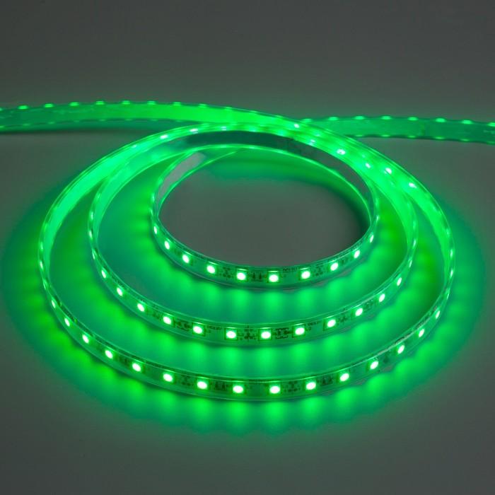 Светодиодная лента 12В, SMD5050, 5 м, IP68, 60 LED, 14.4 Вт/м, 10-12 Лм/1 LED, DC, ЗЕЛЁНЫЙ - фото 687156229