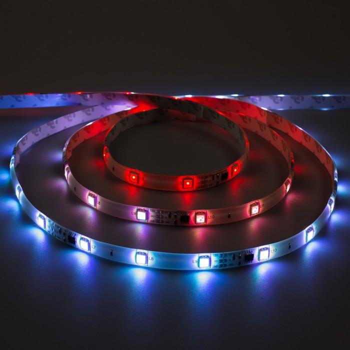 "Светодиодная лента ""Бегущий огонь"" DC 12 В, 7.2Вт/м, 30SMD5050, 5м, IP65, автономная, RGB 848583"