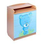 Комод детский пеленальный «Мишка», 4 выдвижных ящика, цвет бук/голубой