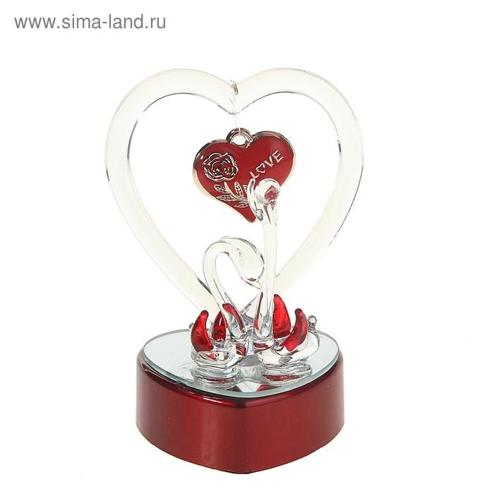 """Сувенир """"Два лебедя с сердцем Love"""" световой"""