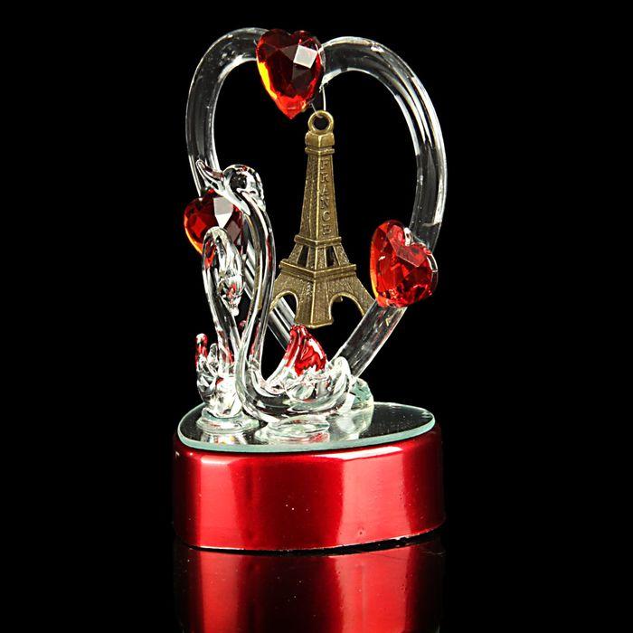 """Сувенир """"Два лебедя в Париже"""" световой"""