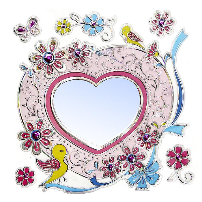 """Наклейка зеркальная """"Сердца и птички"""""""