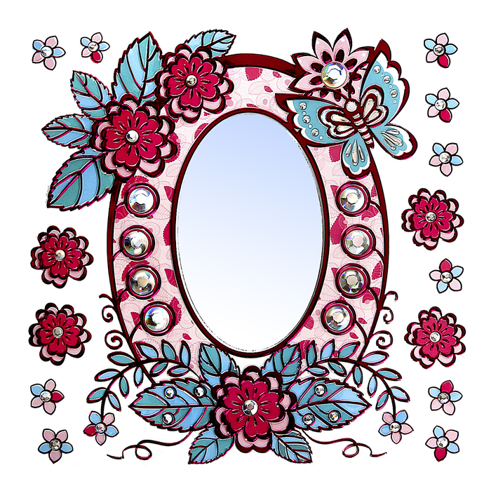 "Наклейка зеркальная ""Зеркало с цветами"""