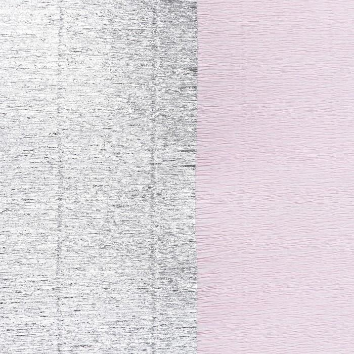 Бумага креп, с серебряным верхом, цвет розовый, 0,5 х 2,5 м