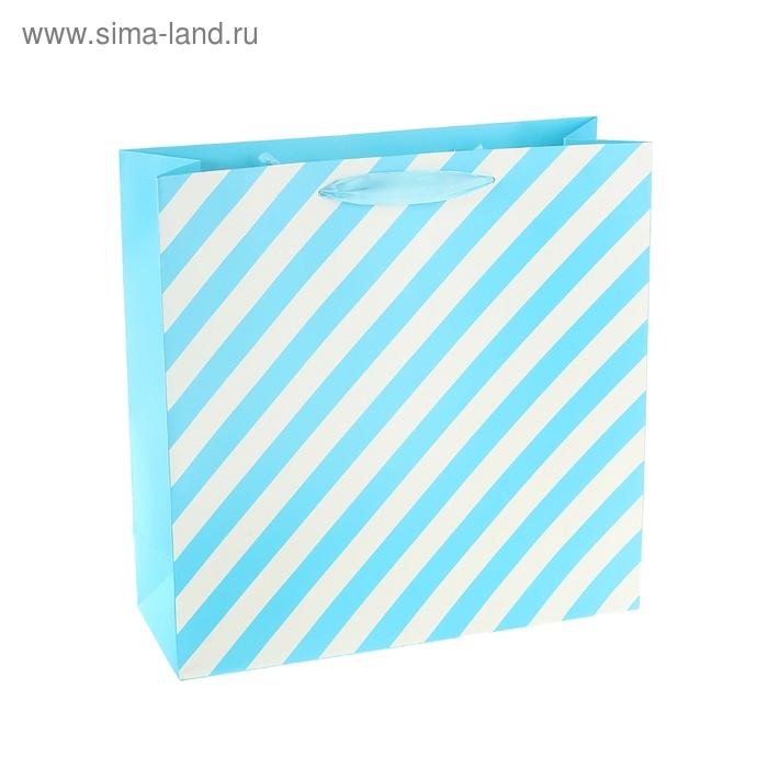 """Пакет ламинированный """"Белая полоска"""", цвет голубой"""