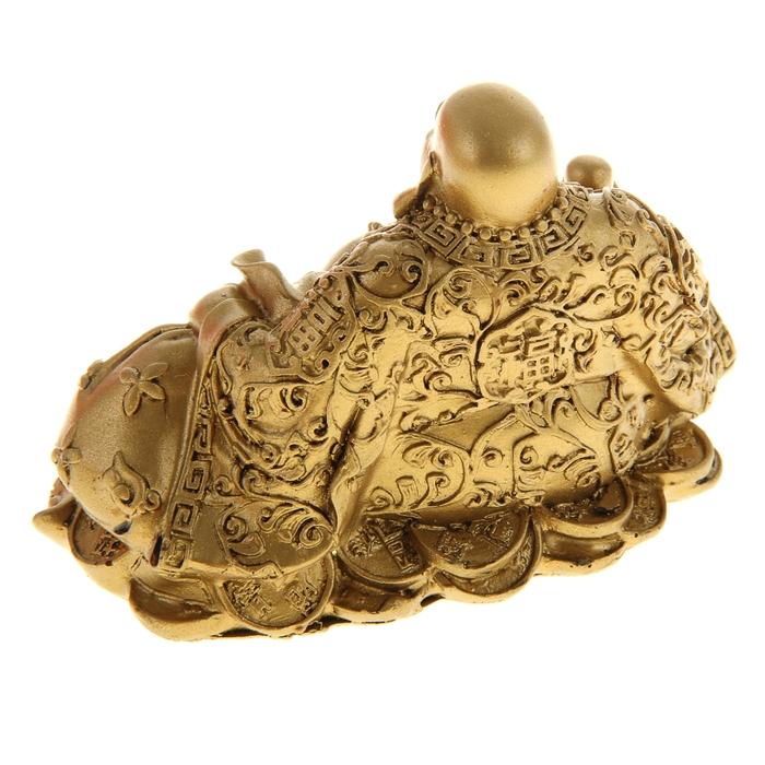 """Нэцкэ под бронзу """"Хотей в одеянии с жемчужиной и мешком богатства на монетах и слитках"""""""