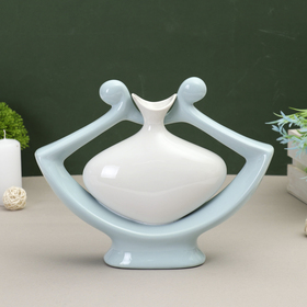 ваза керамика абстракция 28*22 см кувшин в цветке голубой