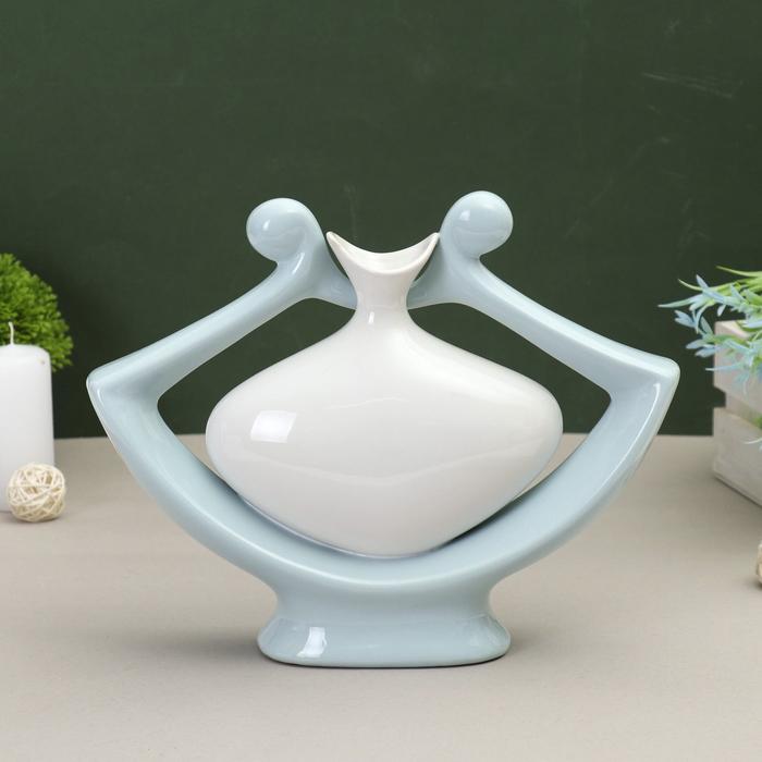 ваза керамика абстракция 28*22 см кувшин в цветке голубой - фото 1578067