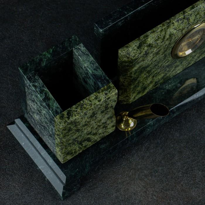Набор письменный: визитница, 2 подставки для ручек, часы