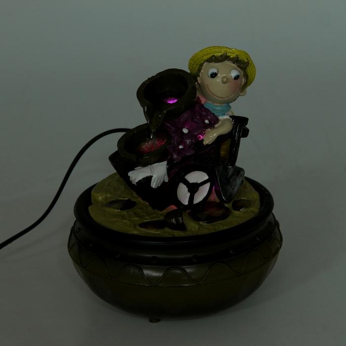 Фонтан мини 18х15 см весельчак с тележкой (с подсветкой)