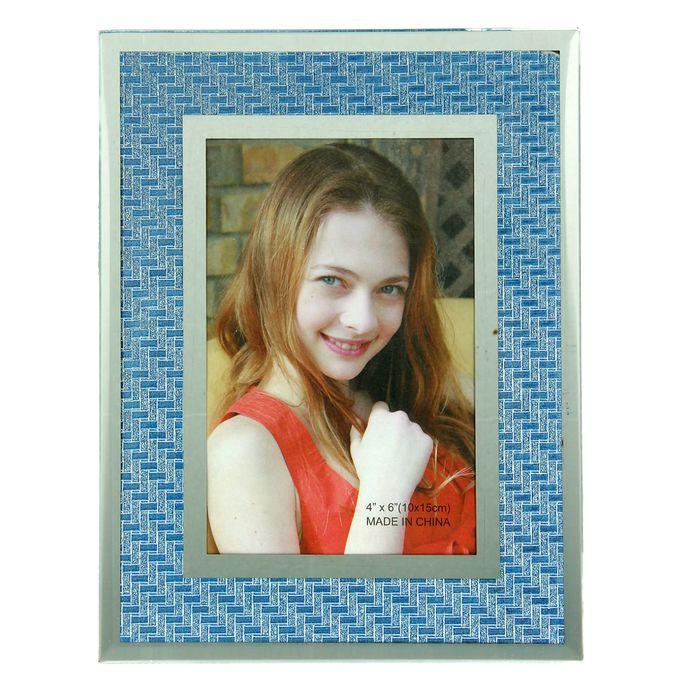 "Фоторамка ""Лазурно-синий орнамент"" зеркальная 10х15 см"