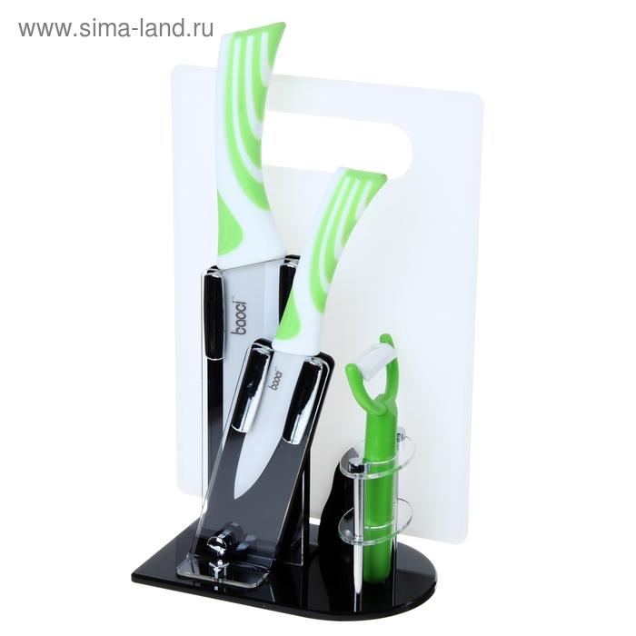 """Набор кухонный """"Полосы"""", 4 предмета на подставке: 2 керамических ножа, лезвия 10 см, 15 см, доска, овощечистка"""
