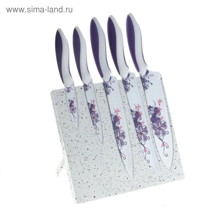 """Набор ножей с антиналипающим покрытием """"Фиалка"""" на магнитной подставке, 5 шт.: лезвия 9 см, 12,5 см, 3 шт. 20 см"""