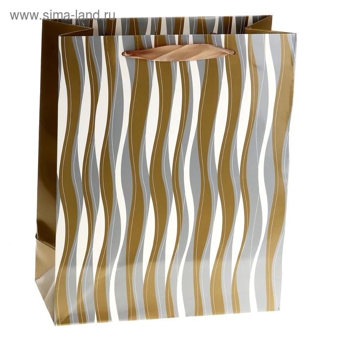 """Пакет ламинированный """"Волна"""", цвет светло-коричневый"""