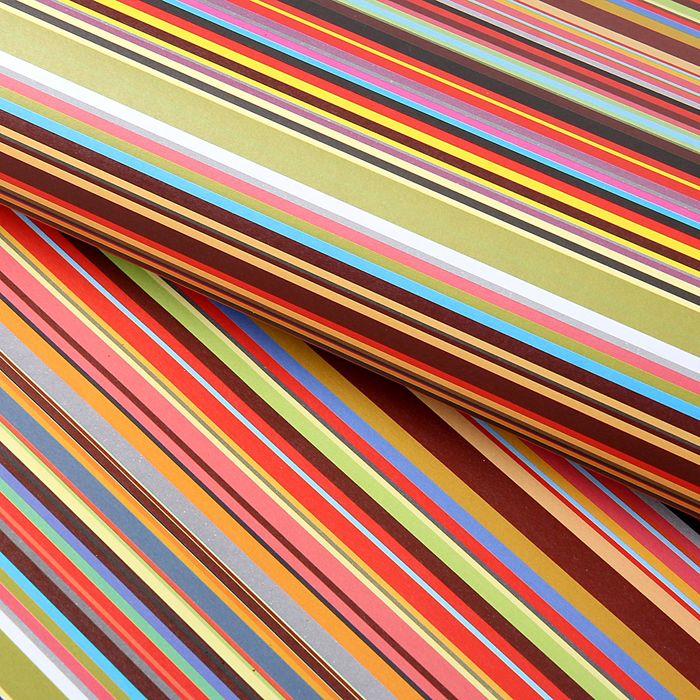"""Бумага упаковочная """"Разноцветные полоски"""", 52 х 73 см"""