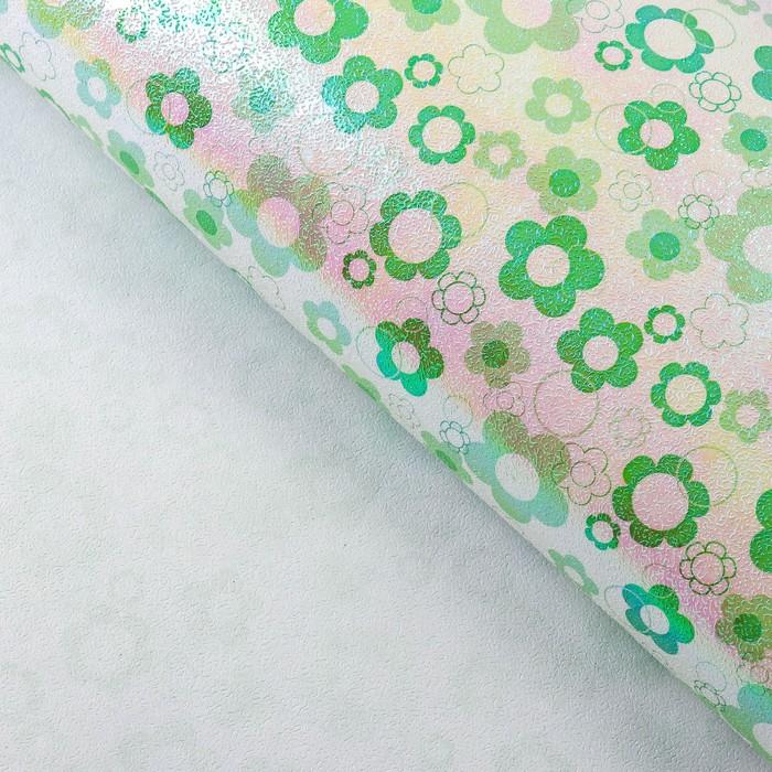 """Бумага упаковочная перламутровая """"Ромашки"""", зелёный, 50 х 70 см"""