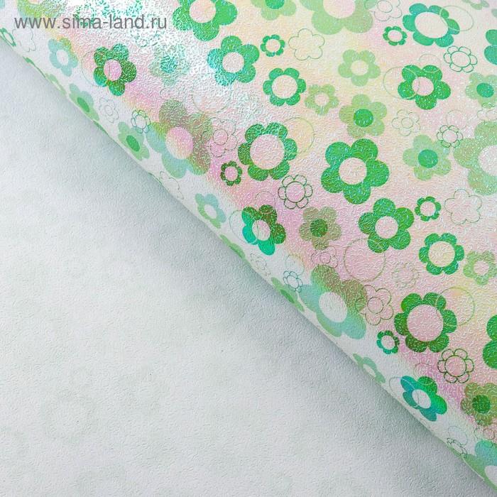 """Бумага упаковочная перламутровая """"Ромашки"""", цвет зелёный"""