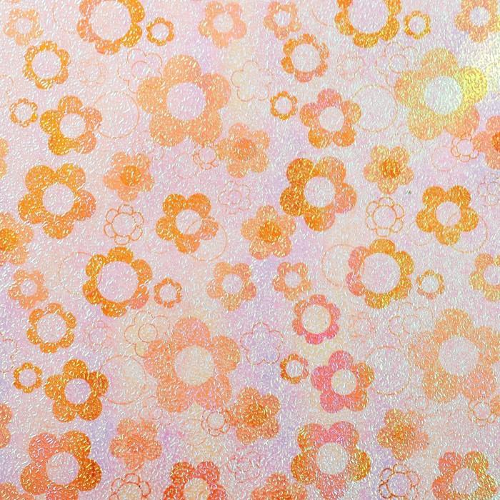 """Бумага упаковочная перламутровая """"Ромашки"""", оранжевый, 50 х 70 см"""
