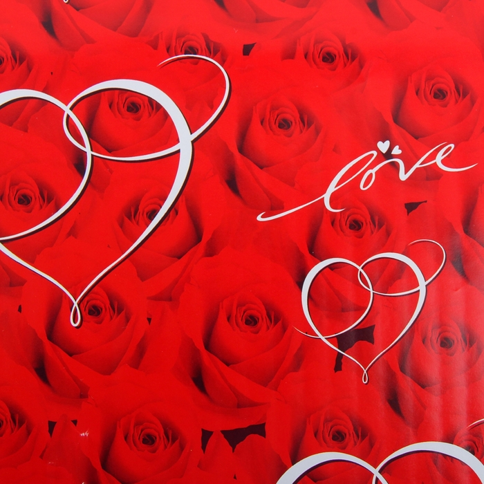 "Бумага упаковочная ""Сердце на розах"", 52 х 76 см"
