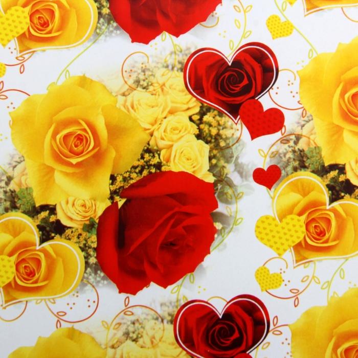 "Бумага упаковочная ""Сердце из розы"", 52 х 76 см"
