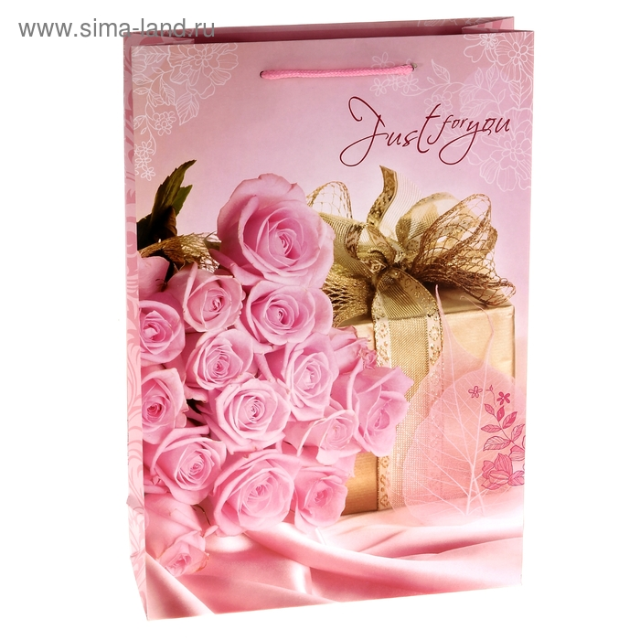 """Пакет ламинированный """"Букет роз с подарком"""""""