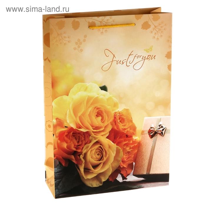 """Пакет ламинированный """"Чайные розы с подарком"""""""