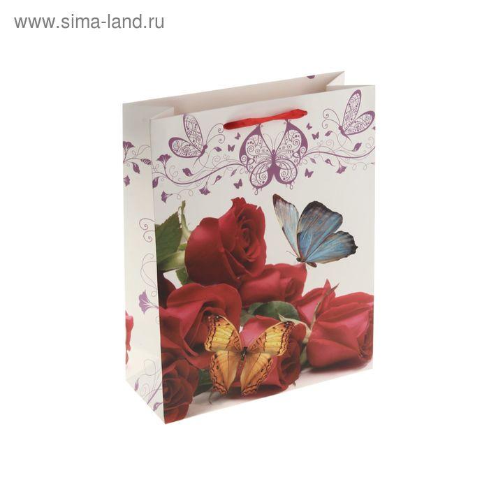 """Пакет ламинированный """"Бабочки на красных розах"""""""