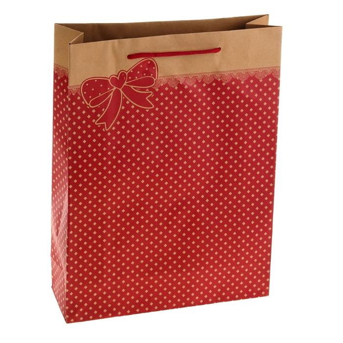"""Пакет крафт """"Бантик"""", красный, 14 х 7 х 18 см"""