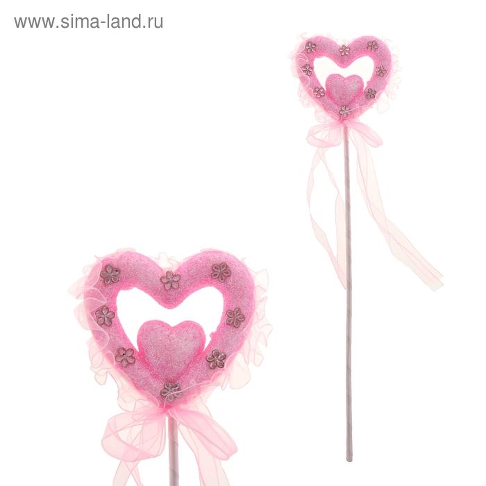 Сердце на палочке с блестками, стразами и лентами, цвет розовый