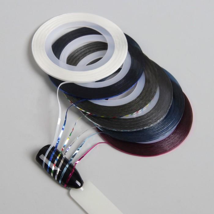 Лента фольгированная для декора ногтей, клеевая, 6шт, цвет МИКС