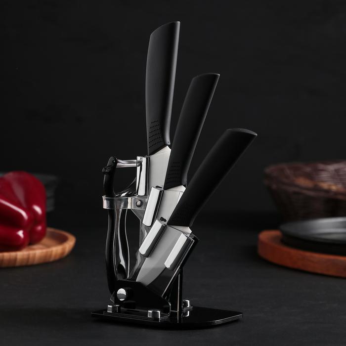 Набор кухонный на подставке «Ночь», 4 предмета: ножи 8 см, 10 см, 13 см, овощечистка, цвет чёрный - фото 1578187