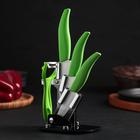 Набор кухонный «Лайм», 4 предмета, на подставке, цвет зелёный