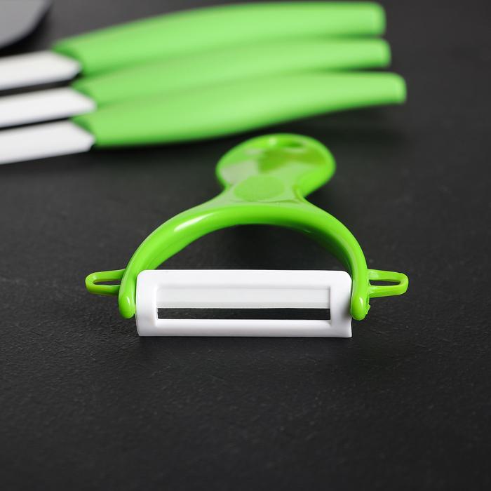 """Набор кухонный """"Море"""", 4 предмета на подставке: 3 керамических ножа, лезвия 8 см, 10 см, 13 см, овощечистка"""