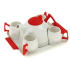 Сервиз чайный Red, 5 предметов на подставке: 4 чашки 150 мл, чайник 750 мл