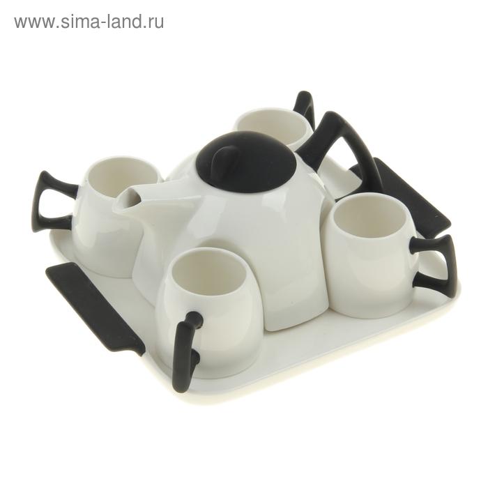 Сервиз чайный Black, 5 предметов на подставке: 4 чашки, чайник 600 мл