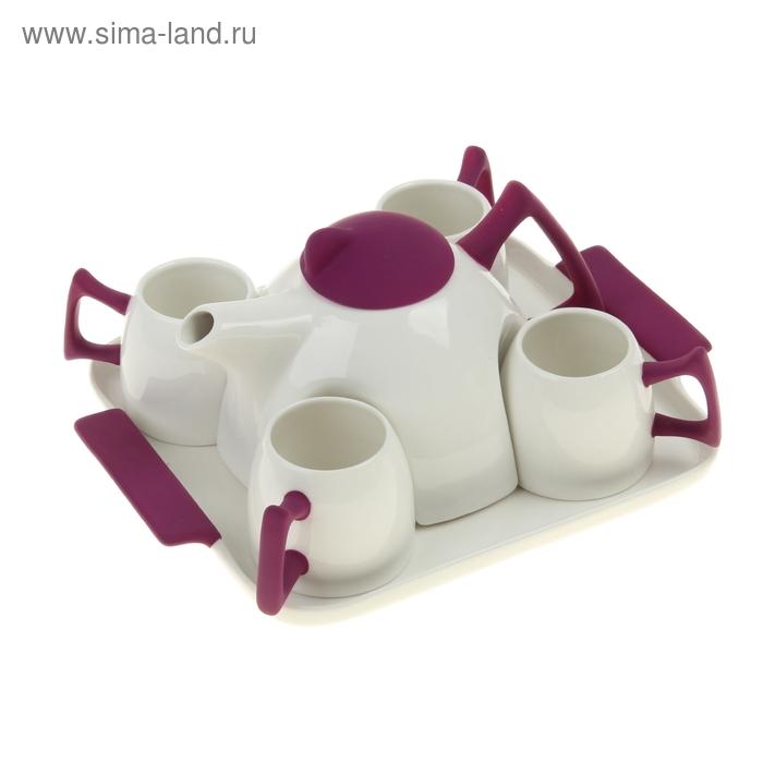 Сервиз чайный Purple, 5 предметов на подставке: 4 чашки, чайник 600 мл