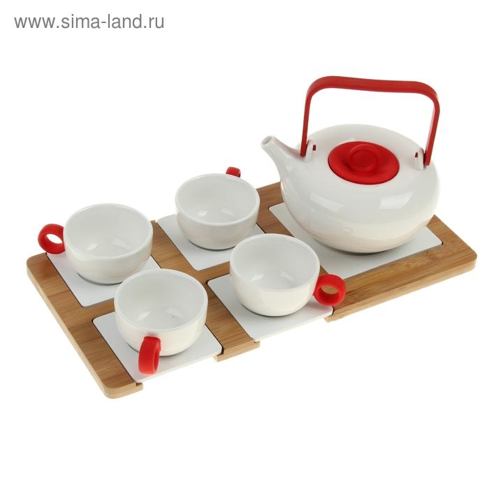 Сервиз чайный Red, 5 предметов на подставке: 4 чашки 100 мл, чайник 600 мл