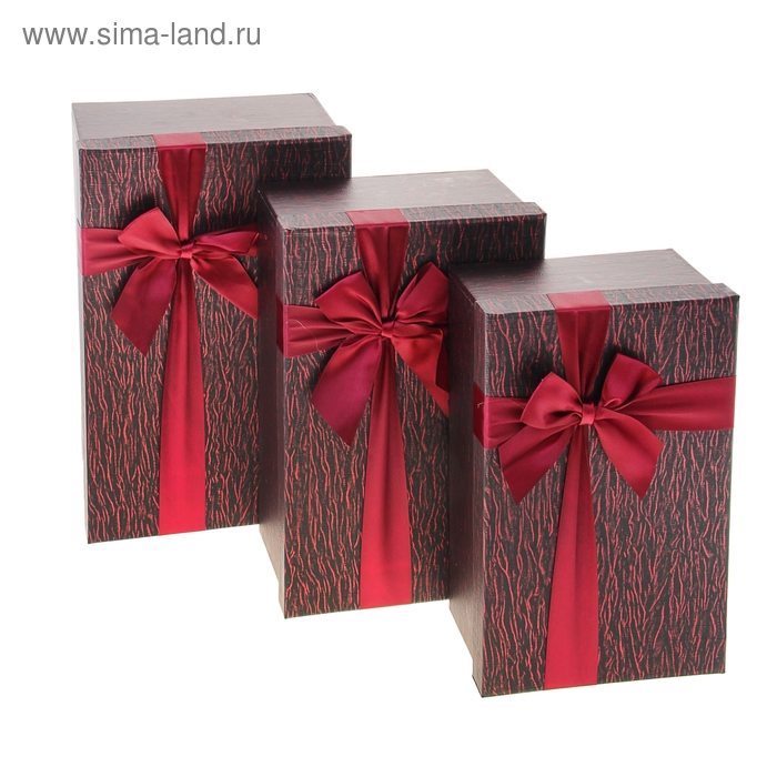 """Набор коробок 3в1 """"Шёлк"""", цвет бордовый"""