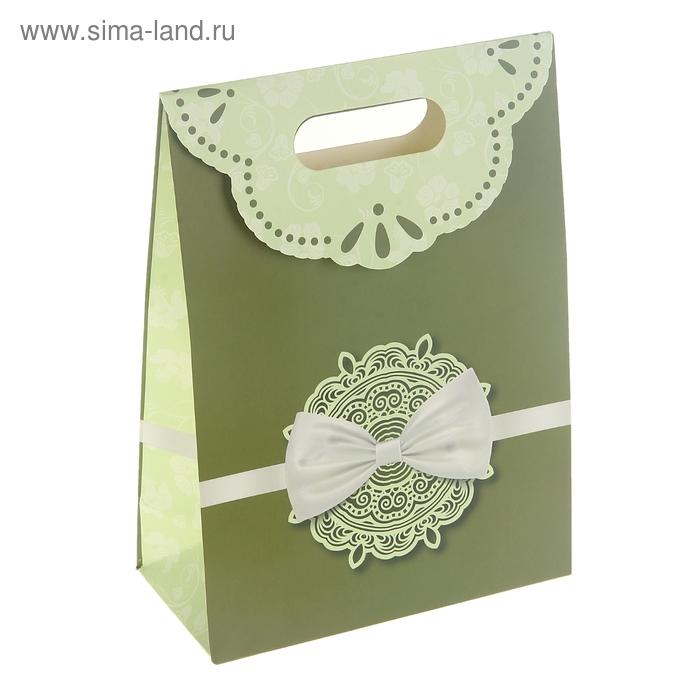 """Пакет с клапаном """"Бантик в кружевах"""", цвет зеленый"""