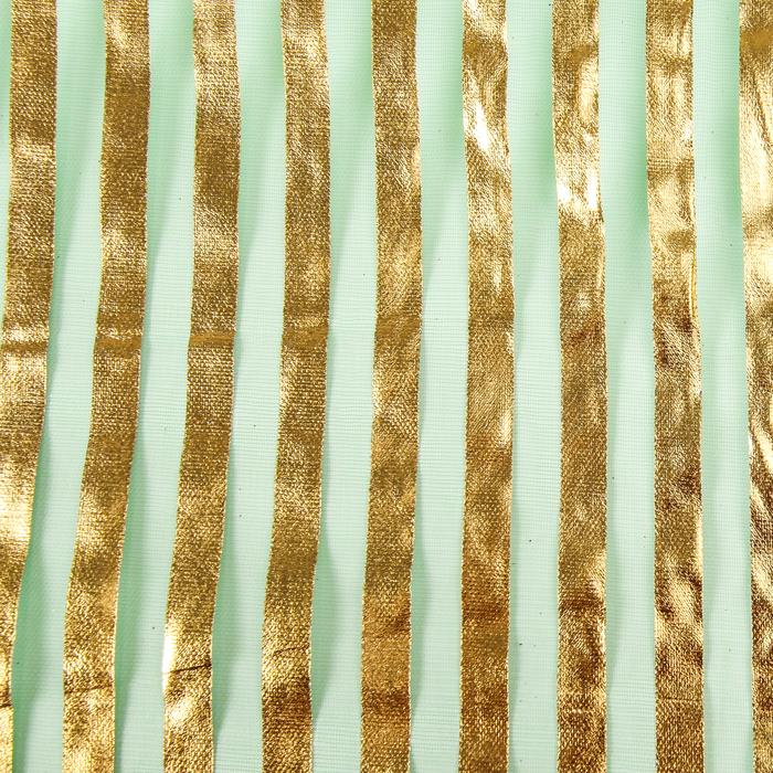 """Органза """"Золотая полоса"""", зеленый, 0,48 х 4,5 м"""