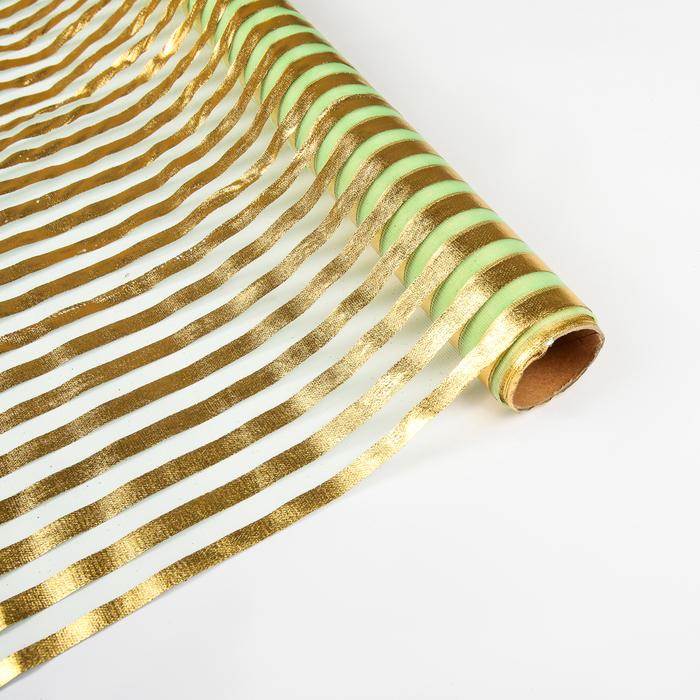 """Органза """"Золотая полоса"""", светло-зеленый, 0,48 х 4,5 м"""