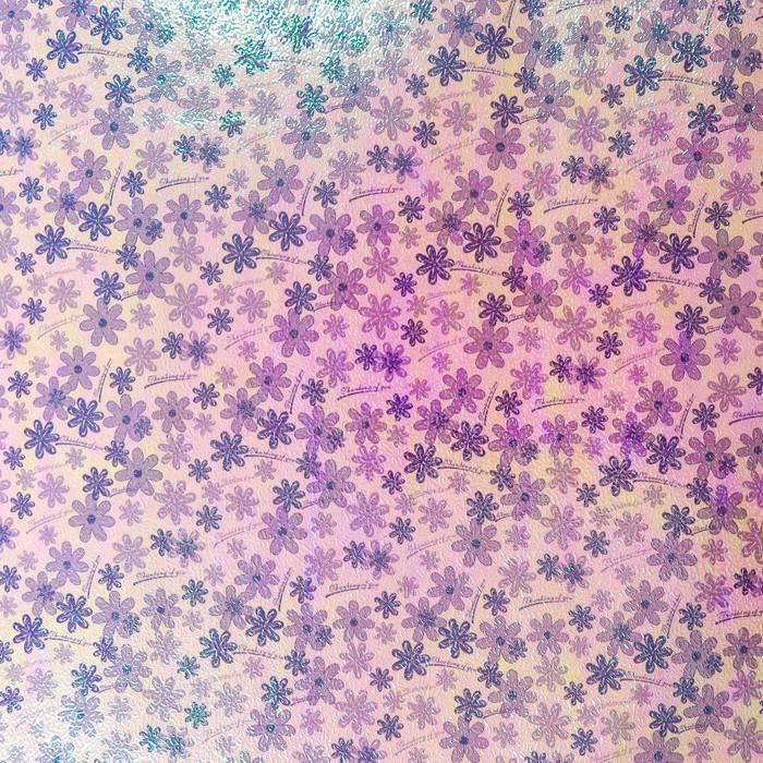 """Бумага упаковочная перламутровая """"Цветочная поляна"""", сиреневый, 50 х 70 см"""