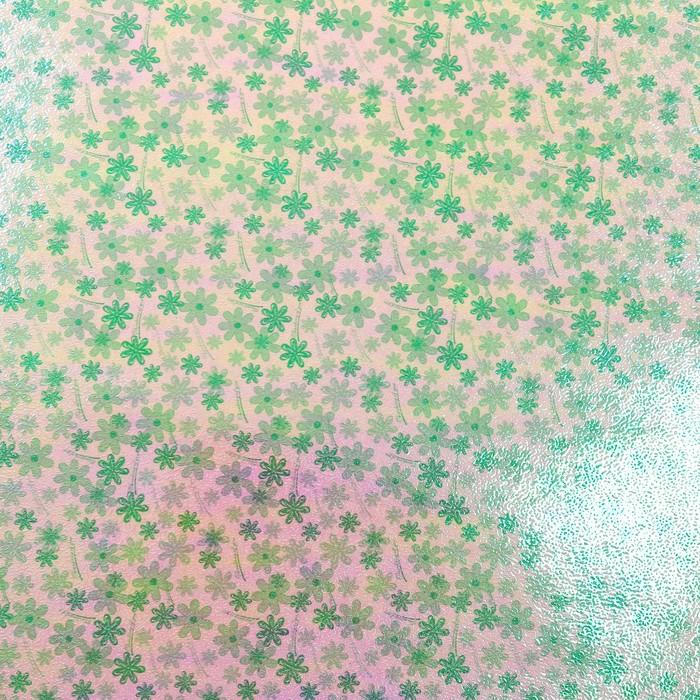 """Бумага упаковочная перламутровая """"Цветочная поляна"""", зелёный, 50 х 70 см"""
