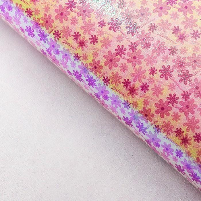 "Бумага упаковочная перламутровая ""Цветочная поляна"", малиновый, 50 х 70 см"