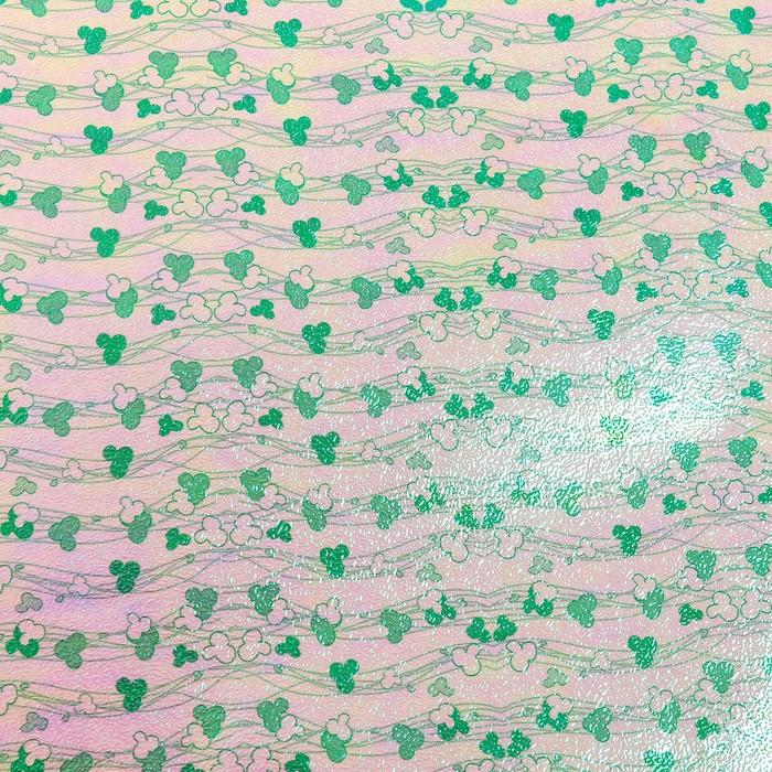 """Бумага упаковочная перламутровая """"Цветочные нити"""", зелёный, 50 х 70 см"""