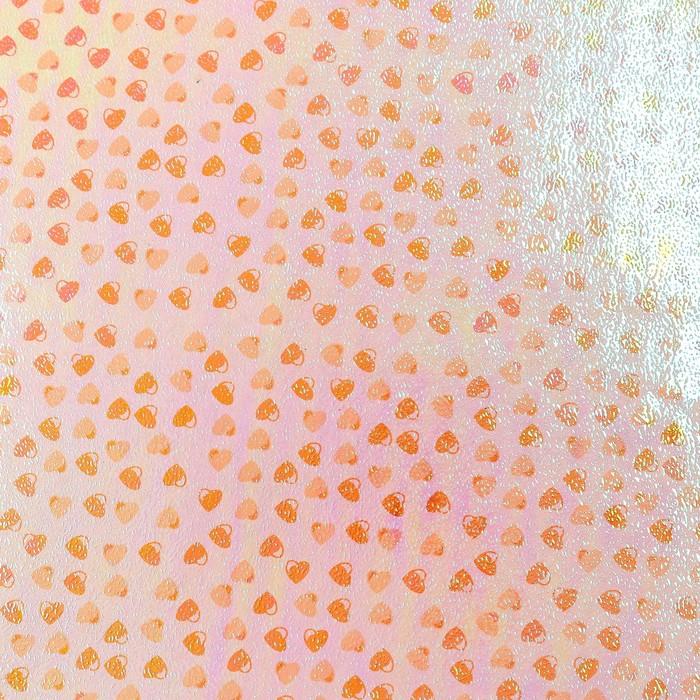 """Бумага упаковочная перламутровая """"Сердечки"""", оранжевый, 50 х 70 см"""
