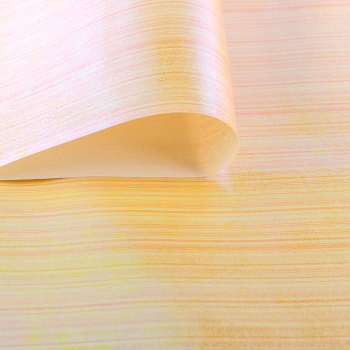 """Бумага упаковочная перламутровая """"Линии"""", оранжевый, 50 х 70 см"""