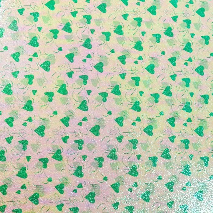 """Бумага упаковочная перламутровая """"Два сердца"""", зелёный, 50 х 70 см"""